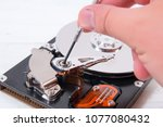 open computer hard disk drive ... | Shutterstock . vector #1077080432