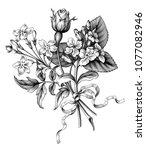 Stock vector rose flowers vintage baroque victorian garden wild floral ornament frame border bouquet scroll 1077082946