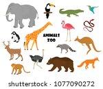 vector icon set  collection zoo ...   Shutterstock .eps vector #1077090272