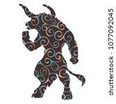 minotaur pattern silhouette... | Shutterstock .eps vector #1077092045