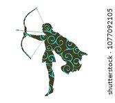 elf pattern silhouette ancient... | Shutterstock .eps vector #1077092105