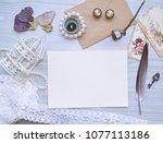 vintage mockup. blank paper and ...   Shutterstock . vector #1077113186