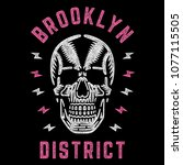 brooklyn district. retro white... | Shutterstock .eps vector #1077115505