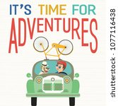 time for adventure. cute comic... | Shutterstock .eps vector #1077116438