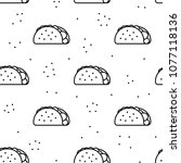 seamless taco black icon... | Shutterstock .eps vector #1077118136