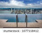 swimming pool view of the... | Shutterstock . vector #1077118412