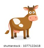 cartoon cow isolated | Shutterstock .eps vector #1077122618