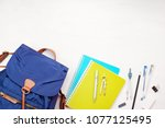 student backpack and various... | Shutterstock . vector #1077125495