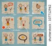 hand drawn children and speech... | Shutterstock .eps vector #107712962