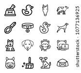 set of 16 animals outline icons ...   Shutterstock .eps vector #1077136925