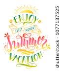 enjoy summer vacation... | Shutterstock .eps vector #1077137525