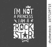 rock n roll hand written girly... | Shutterstock .eps vector #1077139715