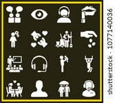 set of 16 people filled icons... | Shutterstock .eps vector #1077140036