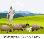 Shepherd On Horseback Herding...