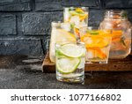 summer healthy cocktails  set... | Shutterstock . vector #1077166802