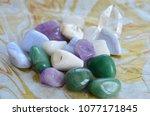 green quartz tumbled pocket... | Shutterstock . vector #1077171845
