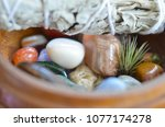 milky quartz crystal. soothing... | Shutterstock . vector #1077174278