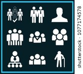 set of 9 men filled icons such... | Shutterstock .eps vector #1077174578