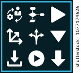 set of 9 arrows filled icons...   Shutterstock .eps vector #1077174626