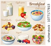 breakfast 2. set of cartoon... | Shutterstock . vector #1077177815