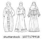 a set of women in traditional... | Shutterstock .eps vector #1077179918