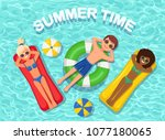 smile woman  man swims  tanning ...   Shutterstock .eps vector #1077180065