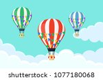 set of hot air balloon in the... | Shutterstock .eps vector #1077180068