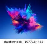 explosion of pink and blue... | Shutterstock . vector #1077184466