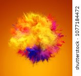explosion of yellow  red and... | Shutterstock . vector #1077184472