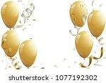 gold balloons  vector... | Shutterstock .eps vector #1077192302