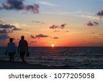 sunrise on the caribbean sea... | Shutterstock . vector #1077205058