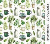 watercolor seamless pattern... | Shutterstock . vector #1077205265