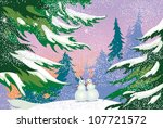 a snowman in a forest  holiday  ... | Shutterstock .eps vector #107721572
