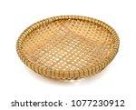 bamboo basket isolated on white ... | Shutterstock . vector #1077230912