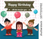 happy birthday card design with ... | Shutterstock .eps vector #1077231932