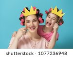 funny family  mother and her... | Shutterstock . vector #1077236948