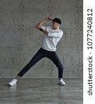 teenager guy in baseball cap... | Shutterstock . vector #1077240812