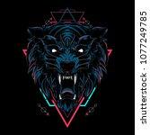 dark wolf sacred geometry | Shutterstock .eps vector #1077249785