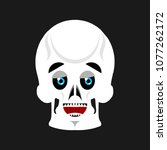 skull happy emoji. skeleton...   Shutterstock . vector #1077262172
