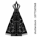 our lady of aparecida is nossa... | Shutterstock .eps vector #1077265568