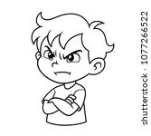Angry Boy Expression Bw