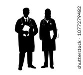 silhouette of medical staff .... | Shutterstock .eps vector #1077279482
