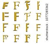 rough metallic gold letter f... | Shutterstock . vector #1077285362
