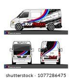 cargo van graphic vector in... | Shutterstock .eps vector #1077286475
