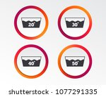 wash icons. machine washable at ... | Shutterstock .eps vector #1077291335