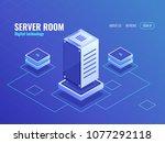 server room  big data... | Shutterstock .eps vector #1077292118