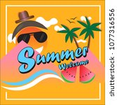summer time vector design with... | Shutterstock .eps vector #1077316556