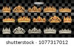 vector. crowns gold  silver ... | Shutterstock .eps vector #1077317012