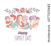 happy family day.  mom  dad ... | Shutterstock .eps vector #1077325682