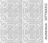 3d white paper art round spiral ... | Shutterstock .eps vector #1077326312